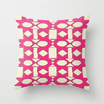 Pink Pattern Pillow Cover - geometric original hipster print cute home decor living room square polyester poplin fabric FREE Shipping to USA
