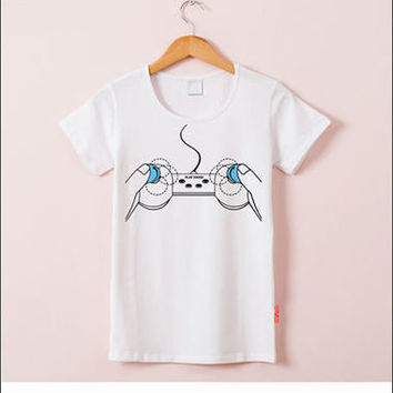 Gamer Playstation Joystick Printed Round Necked Top Shirt T-Shirt _ 3871