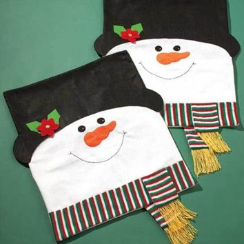 Sets of 2 Holiday Snowman Chair Covers Dining Room Kitchen Christmas Home Decor