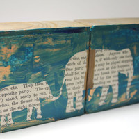 Mommy and Me Elephant Stencil Art Blocks with Vintage Children's Book Pages, Mixed Media Home Décor, set of 2 blocks, Teal and Copper