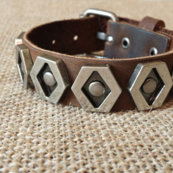Brown Leather Bracelet w/ Ancient Silver Tone and Brass Colored Hexagon Studs