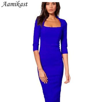 Women Dresses Hot Sale New Fashion Half Sleeve Knee-length Bodycon Pencil Party Dresses Square Collar Sexy Tight Clothing