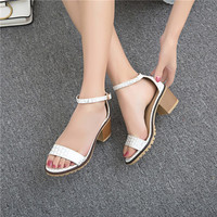 Ankle Straps Women Chunky Heel Pumps Sandals 2726