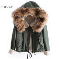 COLROVIE Newest Autumn Fashion Hot Top Faux Fur Green Long Sleeve High Street Women Casual Hooded Drawstring Coat