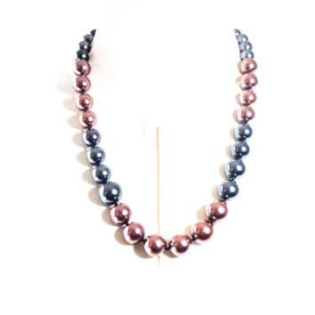 Brown and Gray Color Block Glass Pearl Necklace