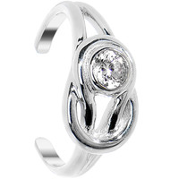 925 Sterling Silver CZ Knot Toe Ring | Body Candy Body Jewelry