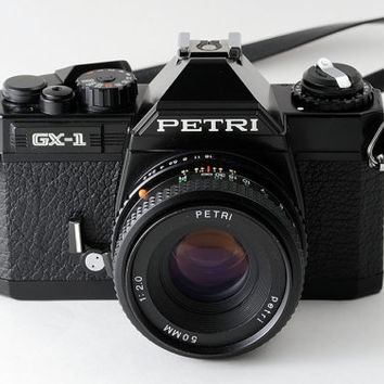 Petri GX-1 35mm Film SLR Camera with Petri 50mm f2 Prime Lens & Case Fully Working