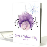 Cute Watercolor Spider for Save a Spider Day March 14 card