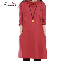 Kinikiss casual dress 2017 spring plus size women dress brief style button female pure color blue turtle collar casual dresses