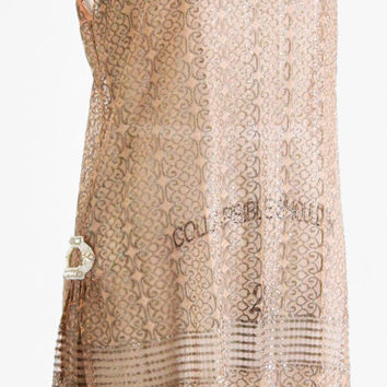 vintage 1920s dress / 20s dress / Pale Pink and Silver Lace Lame Flapper Dress
