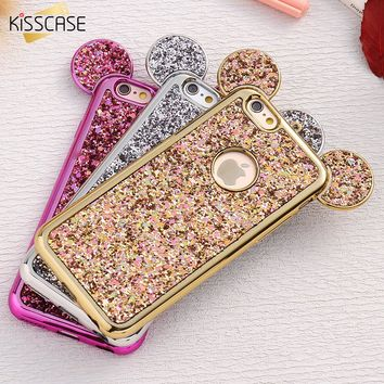 KISSCASE Case For iPhone 6 6S Plus For iPhone 7 Plus 5 5S SE Bling Glitter Cover Mouse Cases For iPhone 6 6S iPhone 6 6S Plus