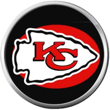 Kansas City Chiefs NFL Logo On Black Football Lovers Team Spirit 18MM - 20MM Snap Jewelry Charm