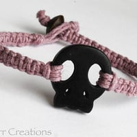 CLEARANCE SALE - Hand Knotted Black Skull Light Pink Hemp Bracelet, Halloween Fanatic Gift Idea, Bubble Goth Jewelry