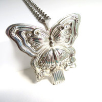 Vintage Reed & Barton Butterfly Whistle Necklace, Sterling Silver Butterfly Necklace, Large
