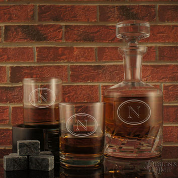 The Connoisseur- Deep-Carved Decanter with Monogram Designs & OPTIONAL Monogrammed Old Fashioned Tumblers and Engraved Whiskey Stones