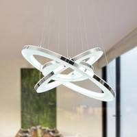 Modern LED Acrylic Pendant Light With 3 Rings Max 33W Chrome Finish