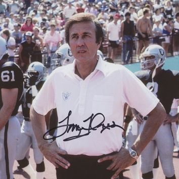 Tom Flores Signed Raiders 8x10 Photo (Beckett COA) (framed)