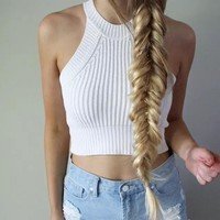 Fashion Solid Color Sleeveless Narrow Shoulder Knit Halter Small Vest Crop Tops