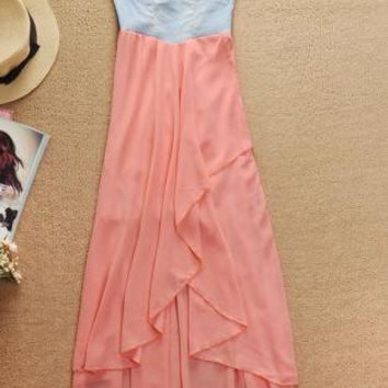 Pink Strapless Dress - Denim Strapless High Low Chiffon | UsTrendy