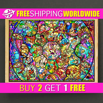 Disney Print Disney All Characters Poster Disney Princess Art Print, Disney Home Decor, Disney Stained Glass Wall Art, Nursery Gift - 554