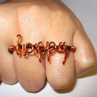Two Finger Ring Happy Wire Wrapped Beaded Black Orange Ring