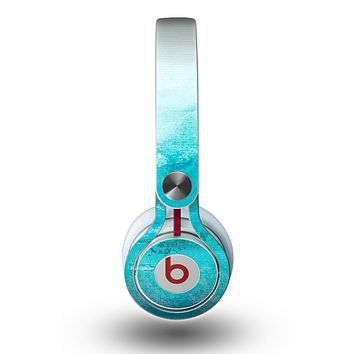 The Grungy Blue Watercolor Surface Skin for the Beats by Dre Mixr Headphones