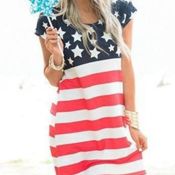 American Flag Printed Dress