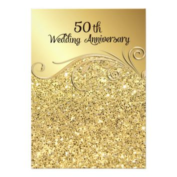 Sparkle Golden 50th Wedding Anniversary 5x7 Paper Invitation Card