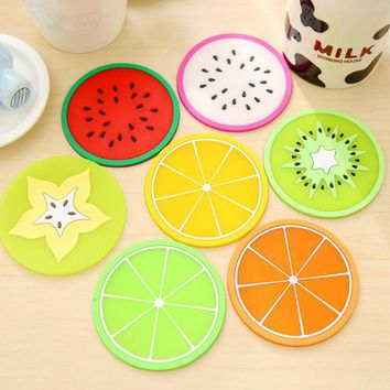 DCCKL72 1 pcs silicone dining table placemats coaster kitchen accessories mat cup bar mug fruit colorful placemats coaster mats & pads