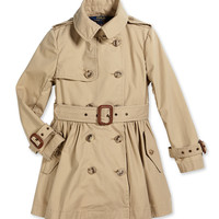 Military-Style Trench Coat, Khaki, Size 2T-6X,