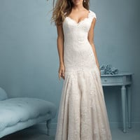 Allure Bridals 9208 Drop Waist lace Wedding Dress