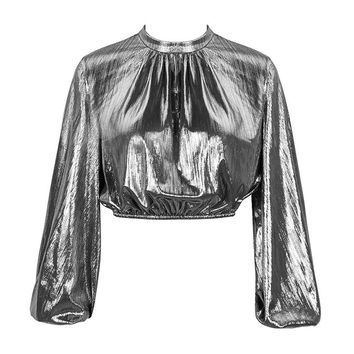 High Society Silver Long Sleeve Round Neck Loose Blouse Lamé Metallic Crop Top