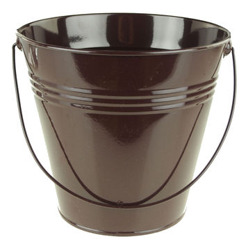 Metal Pail Buckets Party Favor, 7-inch, Brown