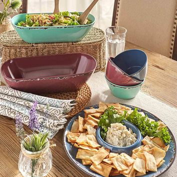 Rustic Melamine Serving Collection Country Primitive Dishes Shatterproof