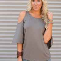 Whimsical Cold Shoulder Tee in Olive