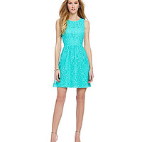 kensie Floral Lace Fit-and-Flare Dress | Dillards.com