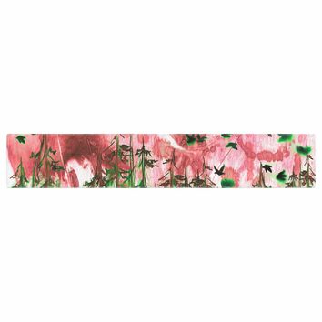 """Ebi Emporium """"We're Better Together, Pink"""" Pink Green Mixed Media Table Runner"""
