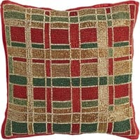 Beaded Plaid Holiday Pillow - 14x14