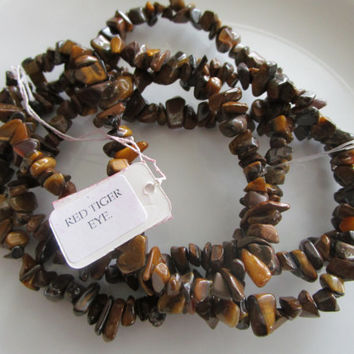 36 inch strand chip red tiger eye gemstone bead - red tiger eye chip bead - 0.25 inches - jewelry bead supplies - chip bead supplies - gems