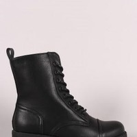 Wild Diva Lounge Combat Lace Up Ankle Boots