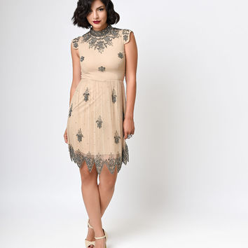 1920s Style Nude Hand Beaded Marilyn Stone Skater Dress