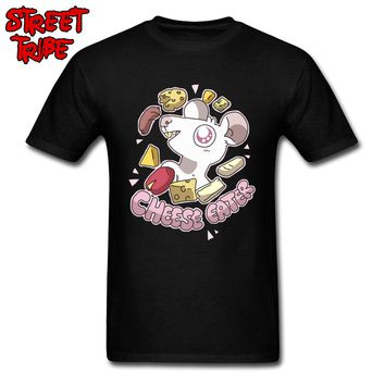 Cheese Eater T Shirts Foodie Funny Tops Hungry Men Cartoon T-shirts Nerd Gift Tees Casual Cartoon Clothes Custom Company