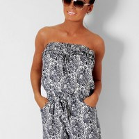 Moonlight Navy Blue Paisley Print Frill Playsuit | Pink Boutique