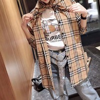 """""""Burberry""""Woman Casual Fashion Letter Lattice Pattern Long Sleeve Tops"""