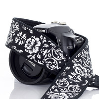 021 Black and White Floral Camera Strap Damask