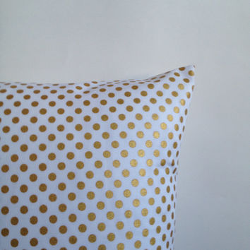 White and Gold Pillow Covers. Small Polka Dot. Set of Two. Sofa Pillow Covers. White Gold Polka Dot Toss Pillows. Decorative Throw Pillows.