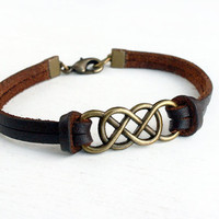 Double Infinity Bracelet with Leather Band - Good for Man and Woman (2 charm colors and 2 band colors to choose)