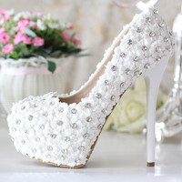 2017 Genuine Leather Luxury rhinestone bridal shoes white ultra high heels wedding shoes Bridal Shoes Platform Wedding Shoes