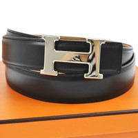 Auth HERMES Vintage H Logos Buckle Constance Reversible Belt Leather NR06613