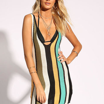 Multi Stripe Plunge Knit Dress